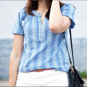 Loft Chambray Floral Peasant Top SP